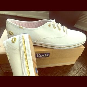 Brand New white & gold Keds sneakers